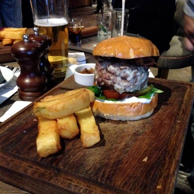 Picture of the Smithfield burger and chips